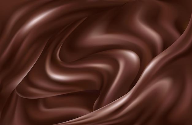 液体チョコレートの渦巻く波の暗い茶色の背景