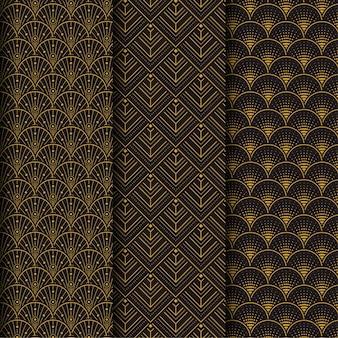 アールデコのシームレスパターンのダークブラウンコレクション