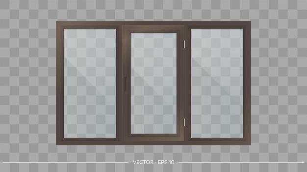 Dark brown metal-plastic window with transparent glasses. Premium Vector