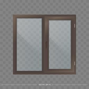 Dark brown metal-plastic window with transparent glasses.