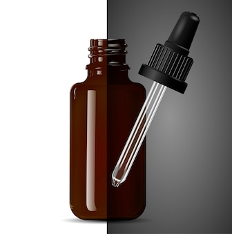Dark brown transparent glass medical dropper bottle.