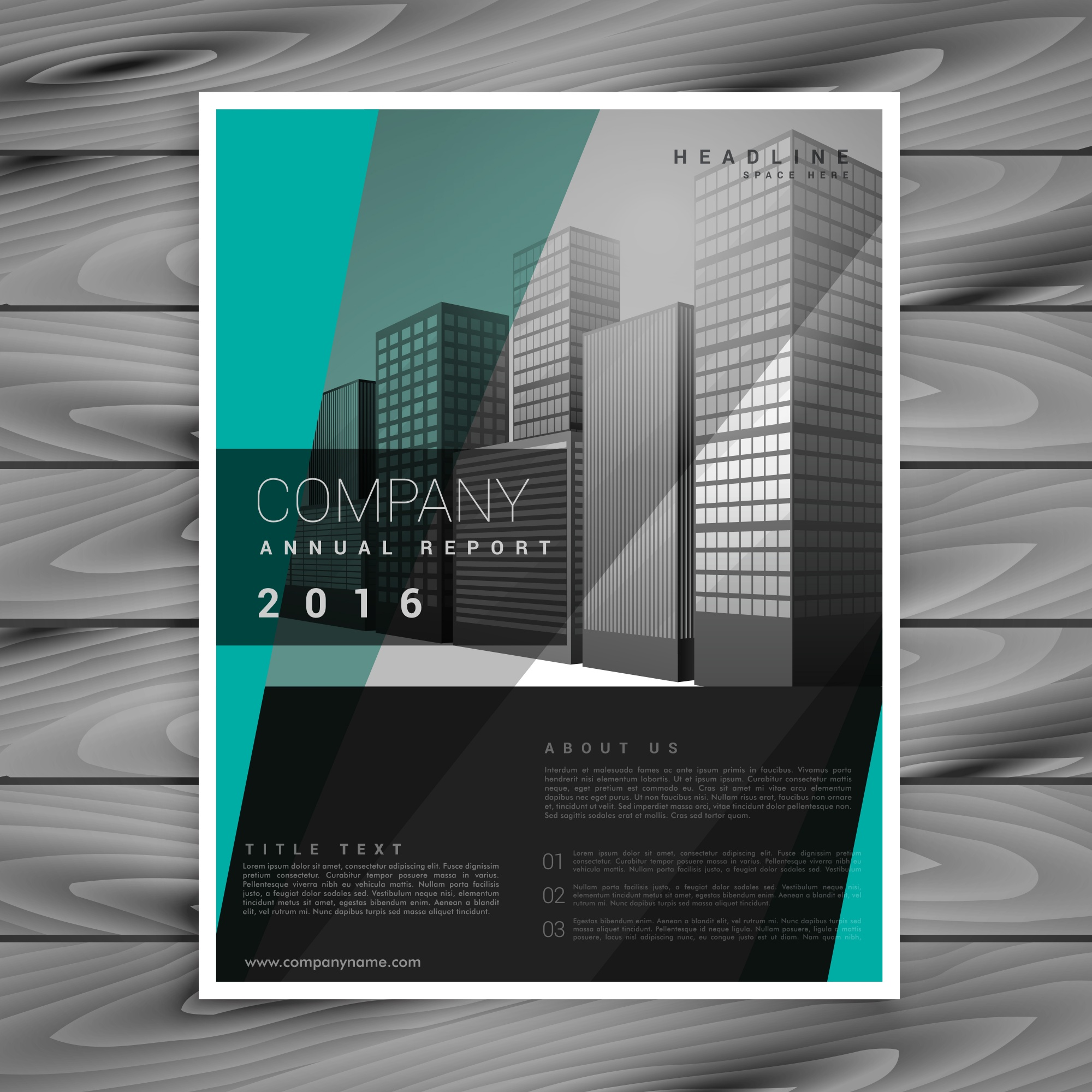 Dark business brochure vector design with geometric green shapes