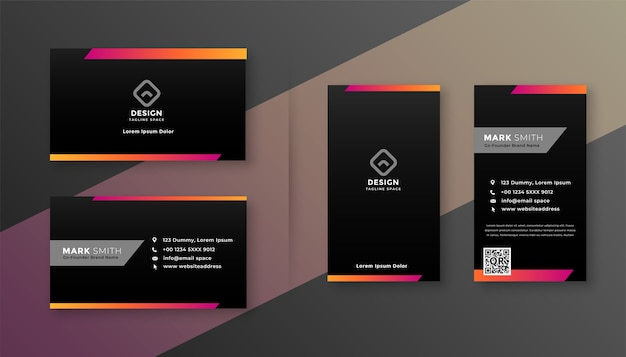 Dark business card design with colorful shape