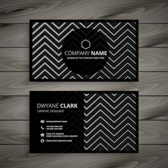 Dark business card design with zigzag line shapes