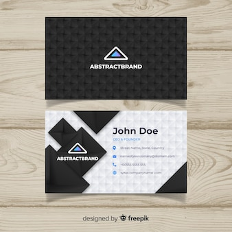 Dark business card template with abstract design