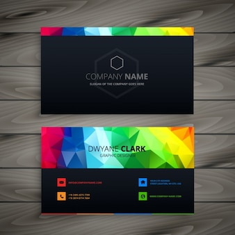 Dark business card with abstract shapes