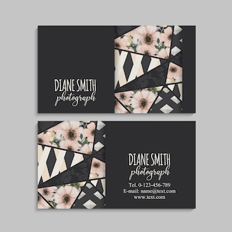 Dark business card with beautiful flowers and geometric elements.
