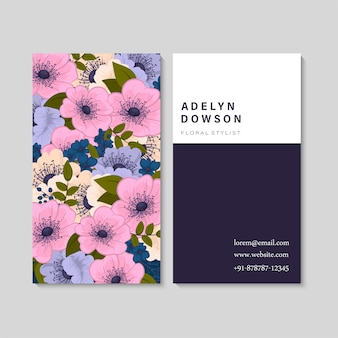 Dark business card with beautiful flowers. template