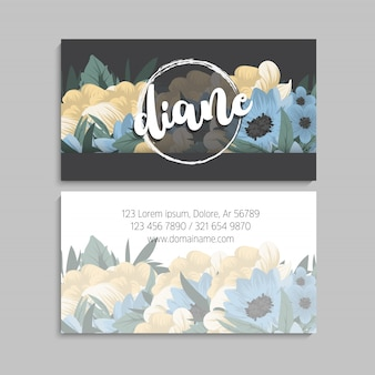 Dark business card with beautiful flowers