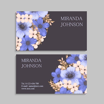 Dark business card with beautiful flowers.