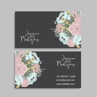Dark business card with beautiful pink and mint flowers.
