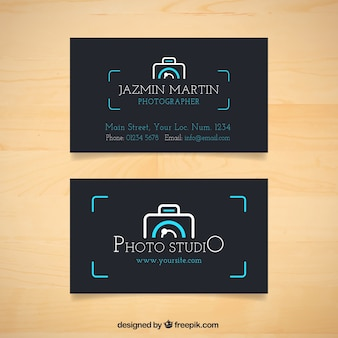 Dark business card with camera logo
