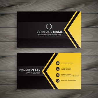 Dark business card with geometric shape