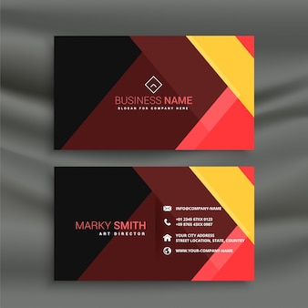 Dark business card with geometric shapes
