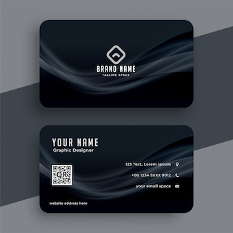 Dark business card with wavy lines