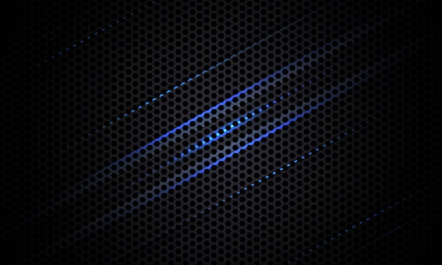 Dark carbon fiber texture with blue and gray lines