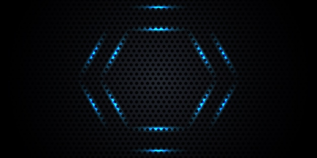 Dark carbon fiber texture with neon honeycomb.