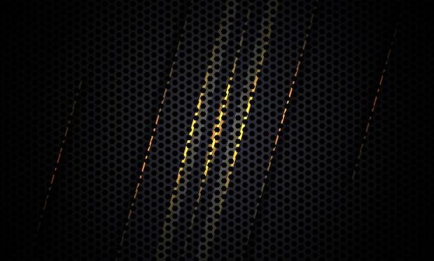 黄色と灰色の線で暗い炭素繊維のテクスチャ