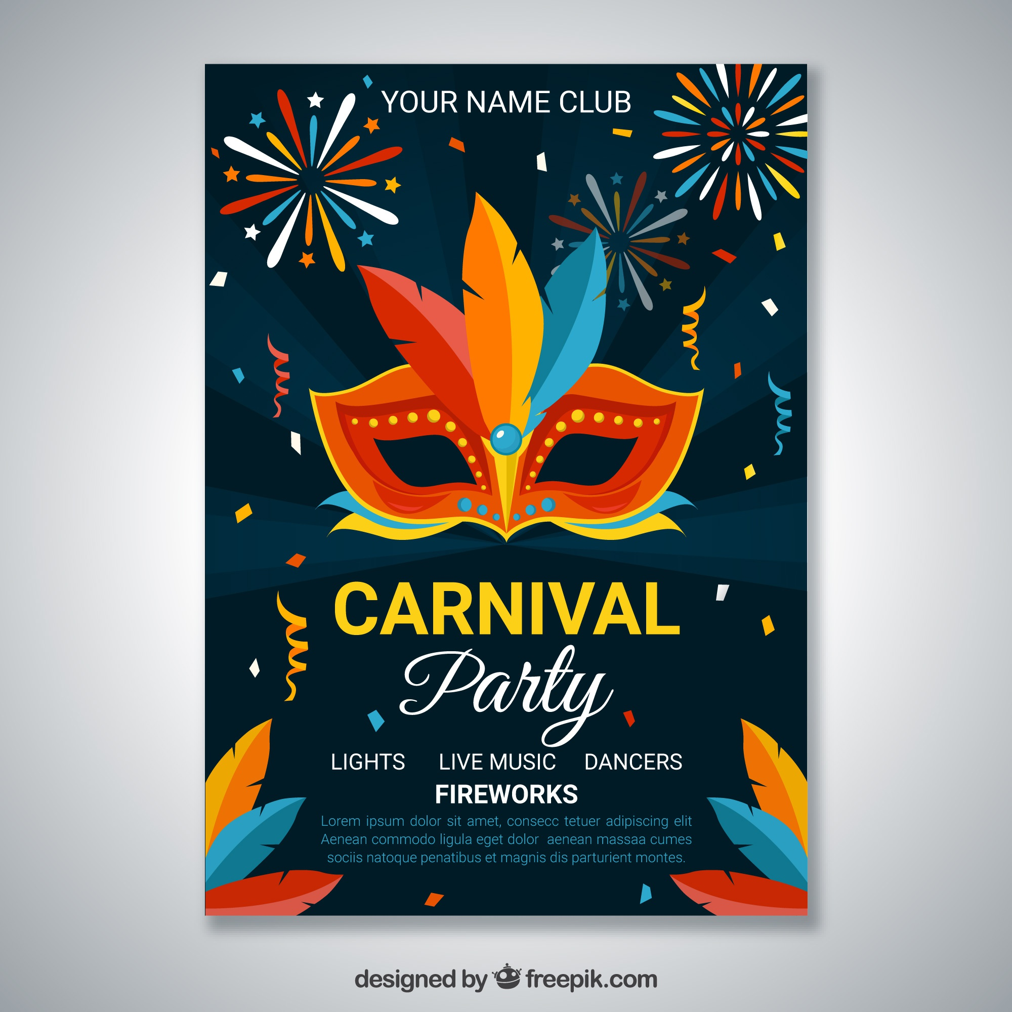 Dark carnival party poster template