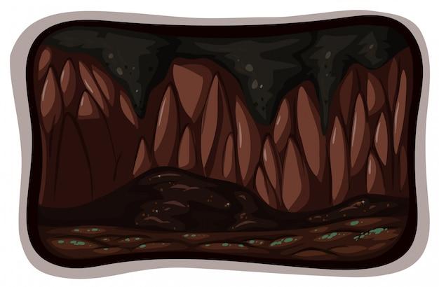 A dark cave on white background