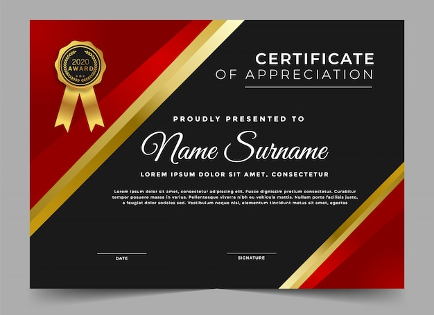 Dark certificate of achievement template