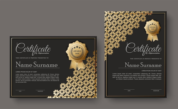 Dark certificate with floral pattern design