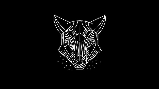 Dark cheetah / wolf / wild animal / line art illustration