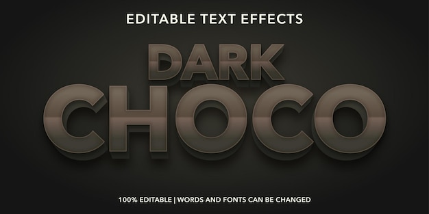 Dark choco editable text effect
