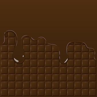 Dark chocolate pattern and dripping chocolate Premium Vector