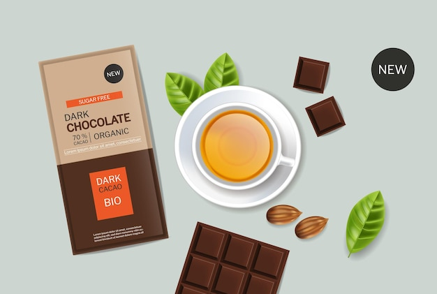 Dark chocolate and tea vector realistic product placement design package mock up