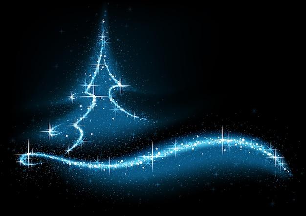 Темный новогодний фон с волшебной елкой, созданной из эффектов синего света