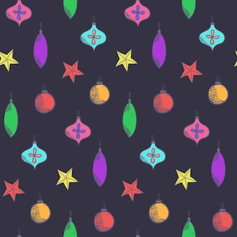Темный рождественский бесшовный образец с милыми красочными шарами. Premium векторы