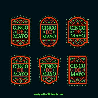 Dark cinco de mayo labels set