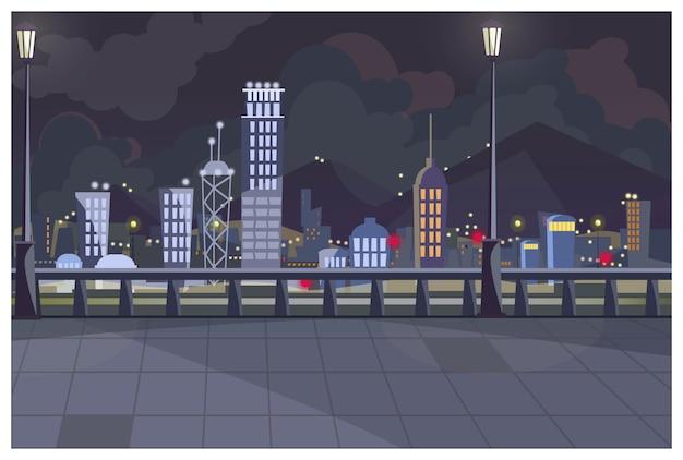Темный городской пейзаж с включенными огнями иллюстрации