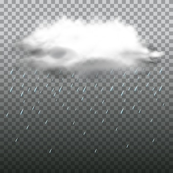 透明な背景に暗い雲と雨