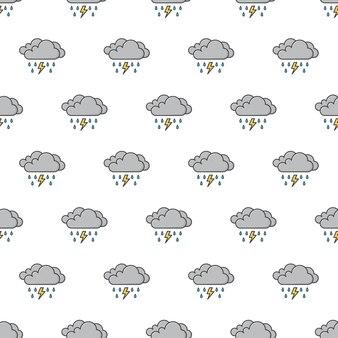 Dark clouds with raindrops and thunder strom seamless pattern  . weather phenomena theme   illustration