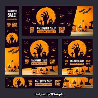 Dark collection of halloween web sale banners