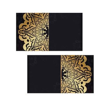 Карточка темного цвета с золотым греческим узором