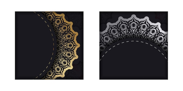 Dark color flyer with golden indian pattern
