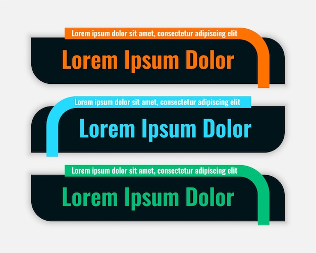Dark color lower third flat style banner design