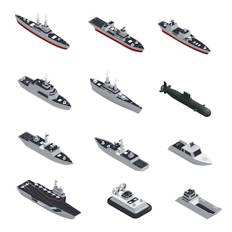 Dark color military boats isometric isolated icon set
