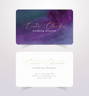 Dark colors business card watercolor template