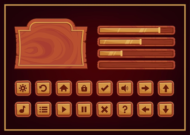 Dark colors design for complete set of score and power button game pop-up, icon, window and elements for creating medieval rpg video games