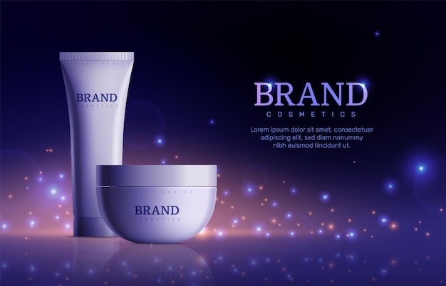 Dark cosmetic banner. tube cream product for skin on sparkle background. beautiful promo ad poster with realistic bottle vector illustration. cream tube advertisement, product for care skin and beauty