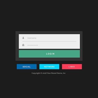 フラットトレンドスタイルのログインフォームデザイン