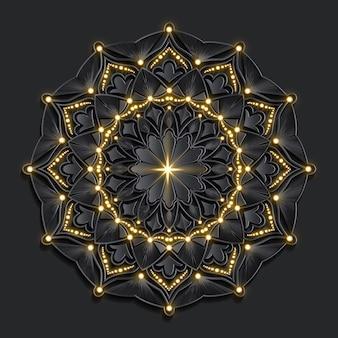 Dark damask golden effect luxury mandala