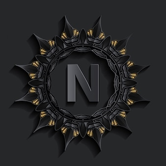Dark damask golden effect monogram logo