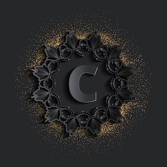 Dark damask golden monogram logo with glitter effect