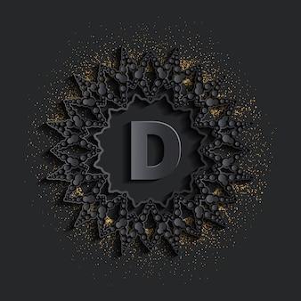 キラキラ効果のあるダークダマスクゴールデンモノグラムロゴ