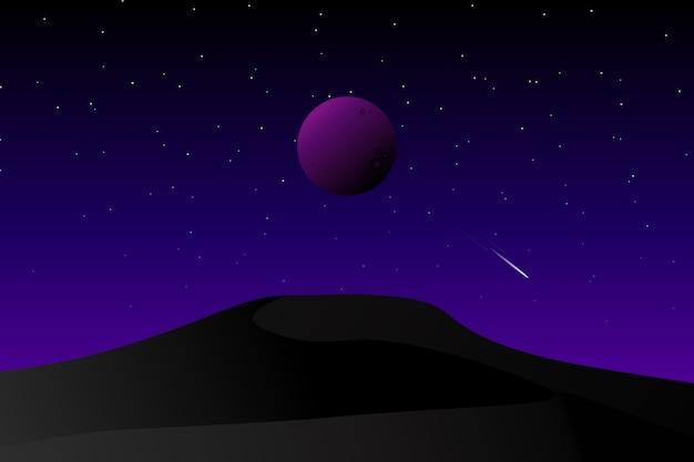 Dark desert galaxy and starry night sky